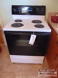 iron horse auction auction personal property auction norwood nc item whirlpool range self cleaning oven white w black glass door 4 burners