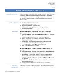 Warehouse Manager Resumelick Summary Doc Distribution Sample Format