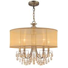 crystorama lighting group 5625 ab antique brass hampton 5 light 24 wide drum chandelier with etruscan smooth teardrop almond crystals lightingdirect com