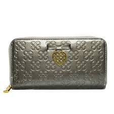 Coach Waverly Hearts Accordion Zip Large Silver Wallets DVG