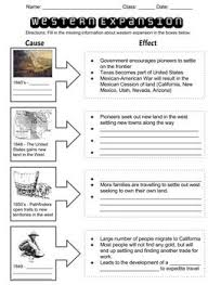 Western Expansion Cause Effect Chart Social Studies