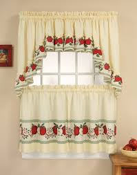 Kitchen Tier Curtains Sets Red Delicious 3 Piece Kitchen Curtain Tier Set Curtainworkscom
