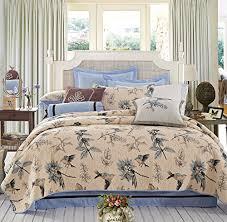Bird Print/Motif Quilt Bedspread Set