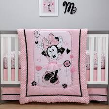 disney minnie mouse hello gorgeous 3 piece crib bedding set pink black white by disney for baby in fiji