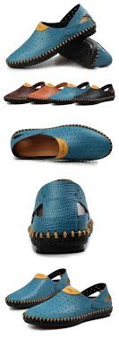 <b>Men</b> Hollow Out Hand Stitching <b>Breathable Lazy</b> Casual Shoes Soft ...