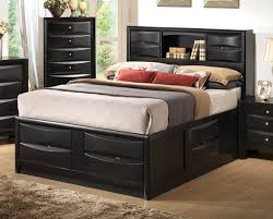 Bookcase Bedroom Furniture Queen Storage Bed With Headboard Headboard Designs