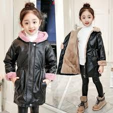 dreamshining winter baby girl coats warm thick velvet kids pu leather jackets teenage zipper outerwears children clothing 5 14y girls padded jacket winter