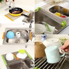 Drain Racks For Kitchen Sinks Stainless Steel Kitchen Sink Folding Roller Drainer Tray Roll Mat