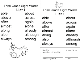 Third Grade Dolch Sight Words 3rd Grade Sight Words List List 1 List 1 Able About Above Across