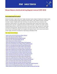 nissan navara electrical wiring diagram manual 1997 2012 Wiring Diagram For Nissan Navara D40 nissan navara electrical wiring diagram manual 1997 2012go to download full manualgeneral information ,engine Nissan Navara D40 Interior
