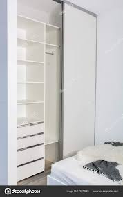 modern home interior built wardrobe sliding doors light interior bedroom stock photo