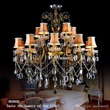 traditional crystal chandelier light fixture antique brass large suspension restaurant candelabro res chandelier lamp with lampshade single pendant