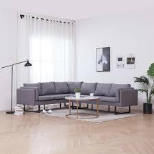 Vidaxl Ecksofa Hellgrau Stoff Sofa Couch Eckcouch