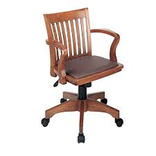 Image Antique Wooden Office Star Deluxe Wood Bankers Desk Chair With Brown Vinyl Padded Seat Fruit Wood Amazoncom Vintage Office Chair Amazoncom