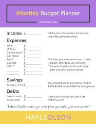 how to make a budget how to make and save money in college free budget planner hayle