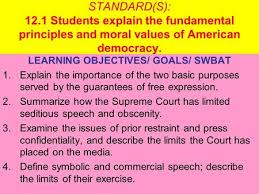 dom of speech purpose for dom of speech to guarantee to  standard s 12 1 students explain the fundamental principles and moral values of american