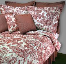 vintage bedroom decor with plaid queen ruffle and classic french toile bedding country bedspread cranberry cream