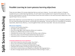 my learning journey split screen teaching and are by no means the only way to implement split screen teaching see alistair smith for his version called three dimensional learning objectives