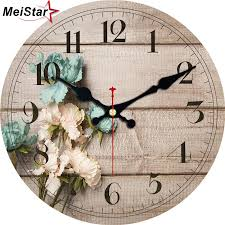 meistar 3 patterns vintage wooden clock flower design silent living kitchen home decor watches large art wall clocks 4 size 2018 funky clocks funky wall
