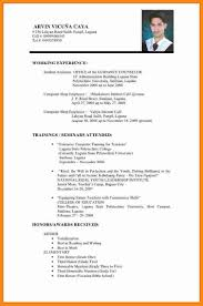 Resume Styles 2017 100 simple filipino resume format musicre sumed 44