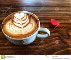 coffee love heart. Simple Love Cup Of Love  Heart Latte Art Coffee In White Cup And Red On The  Vintage Wooden Table Love Your Cup Wake Up Full Fill Energy  Inside Coffee Heart O