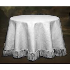 120 natural white tablecloth fringed burlap boutique pertaining to round tablecloths idea 15