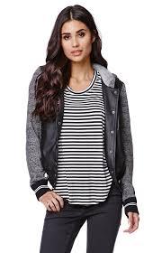 la hearts faux leather fleece sleeve baseball jacket womens jacket