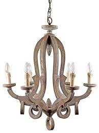 farmhouse 6 light candle style wooden chandelier