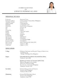 Sample Resume For Fresh Nursing Graduates In The Philippines