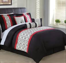7 piece red black and white comforter set with accent pillows