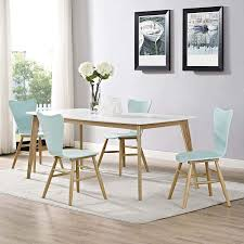 Light Wood Dining Table Chairs Modway Cascade Mid Century Modern Wood Four Kitchen And Dining Room Chairs In Light Blue