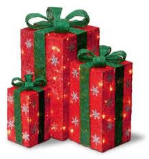 3 Light Up Christmas Boxes Buy Set Of 3 Tall Red Sisal Gift Boxes Lighted Christmas