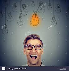 Happy Light Glasses Excited Happy Man In Glasses Looking Up With Light Idea Bulb