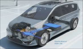 2017 chrysler pacifica minivans hybrid and gasoline engine and hybrid cutaway view