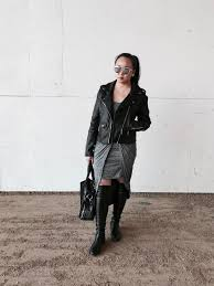 edgy knot dress faux leather jacket