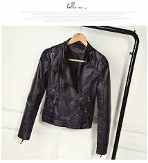 china autumn women black slim lady pu leather jackets sweet female zipper faux china coat women coat