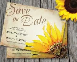 Save The Date Cards Template Sunflower Save The Date Card Template Wedding Rustic