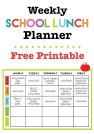 Weekly School Lunch Printable Back To School Pinterest School