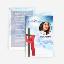 Funeral Cards Template Cross In Clouds' Funeral Card Funeral Pamphlets 11