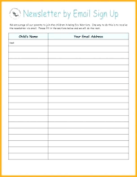 Name And Email Sign Up Sheet Template Name And Email List Template
