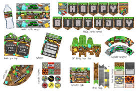Free Massive Minecraft Printable Party Pack Clean Eating With