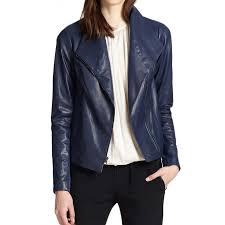 women s asymmetrical zipper scuba blue leather jacket