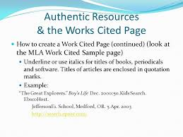 website works cited example authentic resources the works cited page ppt video online download