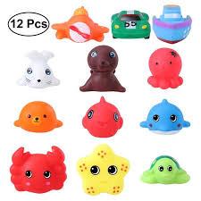 toymytoy 12 pcs bath toys sea animals vehicles water spraying squeaker fun bathtub toys for babies