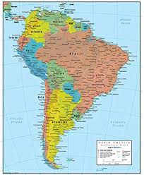 Swiftmaps South America Wall Map Geopolitical Edition 18x22 Paper
