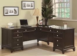 adorable office decorating ideas shape. Desk Breathtaking L Shaped Dark Brown Wooden Office Small Space Glossy Top Modern Adorable Decorating Ideas Shape A