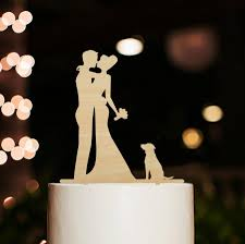 Rustic Wedding Cake Topper With Dog Silhouette Wedding Cake Topper