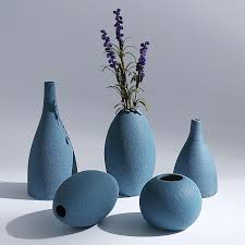 Blue Black <b>Gray European</b> Modern Frosted <b>Ceramic Vases</b>/Flower ...