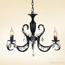 modern 3 light black iron chandelier candle light restaurant dining room living room crystal chandeliers black pendant lamp e14 led bulb chandelier lamp