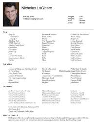 Acting Resume Special Skills Examples. Talent Resume Template with regard  to Acting Resume Special Skills